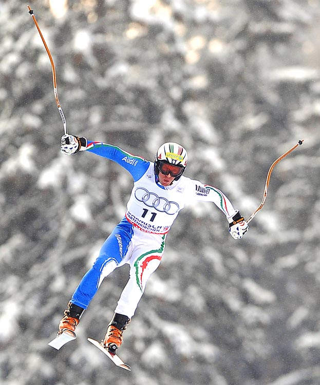 Italy's Werner Heel  jumps during a World Cup Downhill training run on March 9 in Garmisch Partenkirchen, Germany