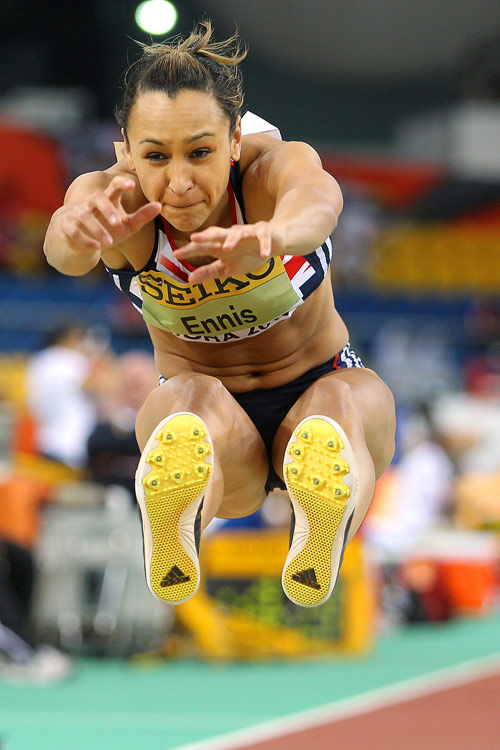 Great Britain's Jessica Ennis competes in the pentathlon long jump at the World Indoor Championships on March 13.
