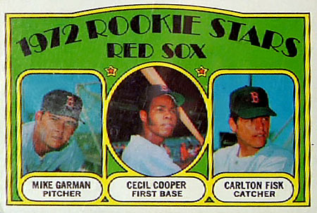 Rookie card for Carlton Fisk -- Who's famous for his world series blast and games caught behind the plate.