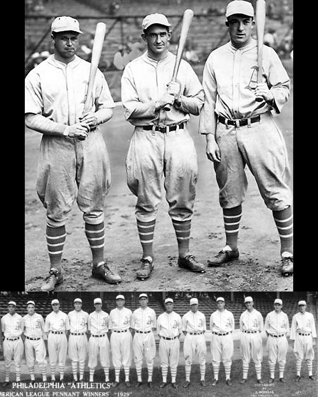 Six Hall of Famers, including Lefty Grove, Al Simmons and Eddie Collins, and 104 wins.  (Pictured are Jimmie Foxx, Mickey Cochrane and Al Simmons)