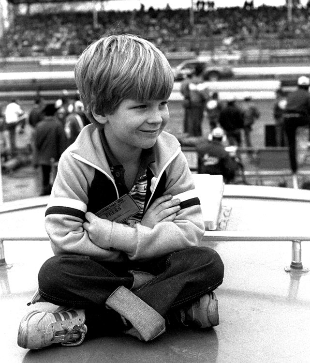 Junior has never been a stranger to the racing circuit, captured here as a six-year-old atop a camper at the 1981 Richmond 400.