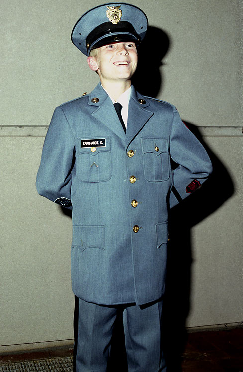 "Earnhardt, seen here in his military school uniform, has always been close to his family and shared a special relationship with his sister. ""When I went to military school in seventh grade, she went with me because she was worried about me,"" he told USA Today. ""Nobody goes to military school willingly. Sometimes I take it for granted how much she cares for me."""