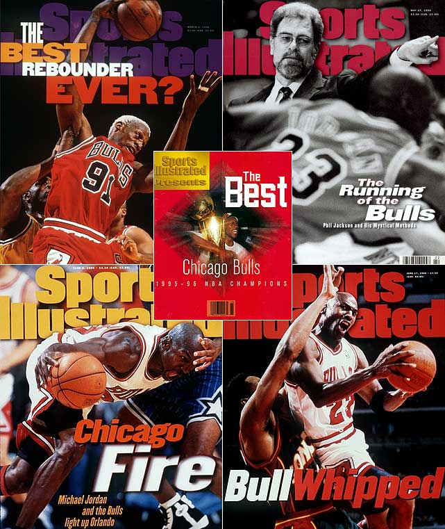 Greatest team of all time? According to the record books, absolutely. In his first full season back on the court (remember that stint with the Chicago White Sox?), M.J. rode out the Bulls' high expections by leading his team to the finest season in NBA history. Along the way, he notched another scoring title to top Chamberlain's record of seven, three MVP awards (season, All-Star, Finals) and handed Chicago its fourth title. The Bulls' season record broke he 1971-72 Lakers' record of 69 wins in a season.