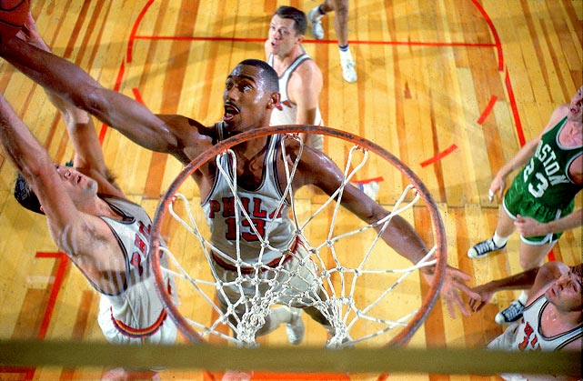 Wilt grabbed 55 boards in the Philadelphia Warriors' loss to the Boston Celtics on Nov. 24, 1960. Bill Russell came close with 49 rebounds (twice) with the Celtics. Dwight Howard's career high is 26.