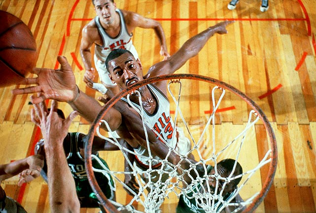 In addition to his all-time mark of 100 points in a single game, Chamberlain finished the 1961-62 season with an average 50.4 points per game. His closest competitor was M.J., who averaged 37.1 points per game during his 1986-87 season with the Bulls. Don't expect this Wilt record to ever come down.