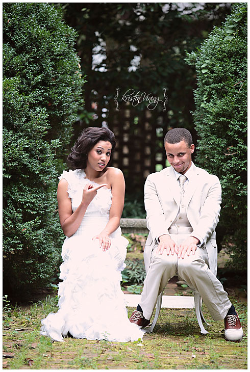 The Warriors guard and his college sweetheart/actress Ayesha Alexander posed for possibly the greatest wedding photo ever.