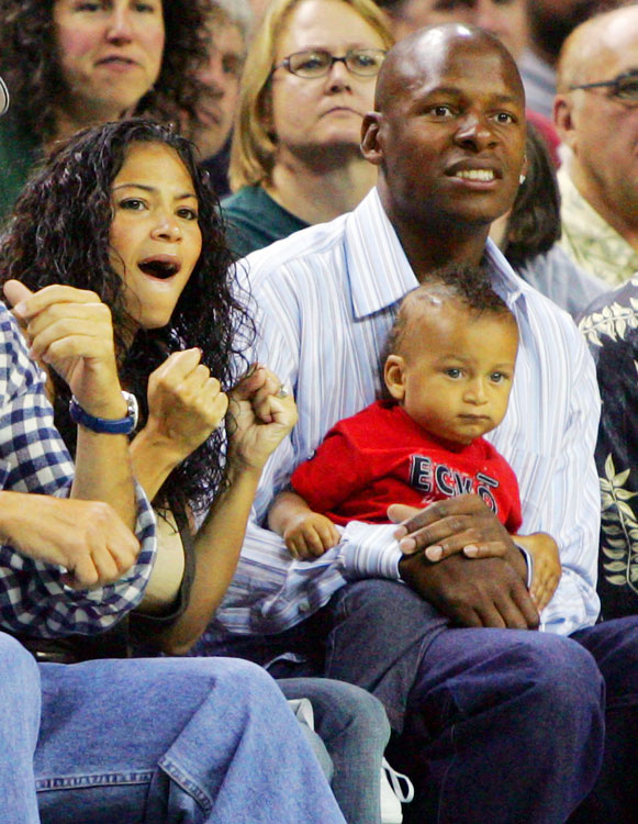 The NBA's all-time leader in three-pointers sits with his wife, Shannon Williams, and son, Ray Allen III.