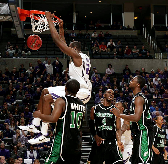 Kansas State senior Curtis Kelly gets two of his 15 points the easy way -- and causes some frustration among North Texas defenders along the way. The Wildcats, seeded second, earned a date with Brigham Young Saturday.