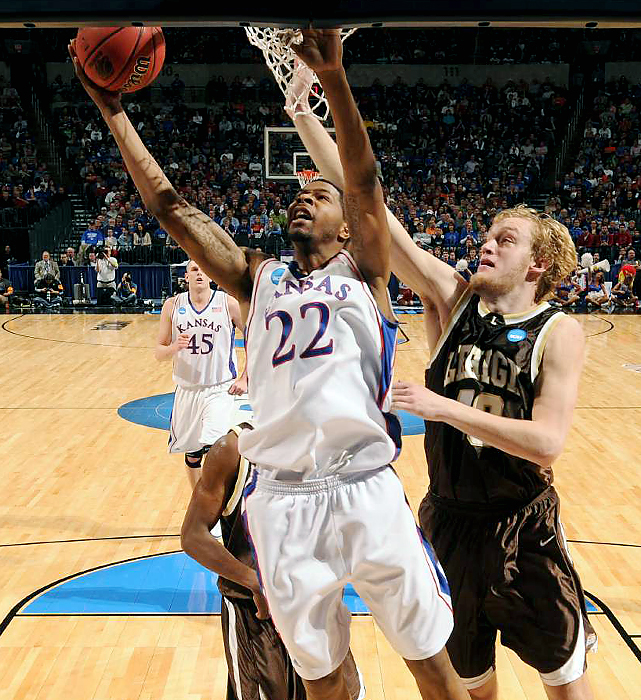 Sophomore Marcus Morris collected 26 points and 11 rebounds, both game highs, as Kansas (33-2) fell into its season-long pattern of playing in spurts, giving No. 16 seed Lehigh (22-11) hope of making college basketball history. The Jayhawks led by just six in the first half and didn't pull away until midway through the second in securing a date with Northern Iowa on Saturday.