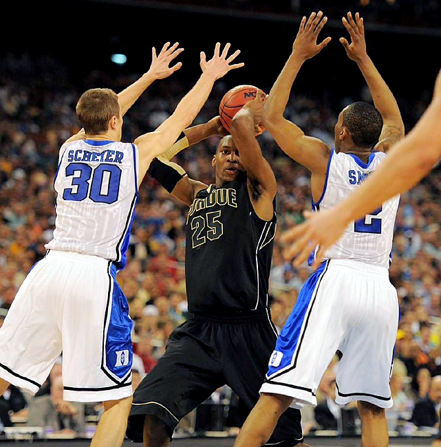 Junior JaJuan Johnson (No. 25) finished with a game-high 23 points, but Duke kept Purdue frustrated, limiting the Boilers to 37 percent shooting from the field, including 27 percent from 3-point range. Duke will face Baylor Sunday in the regional final.