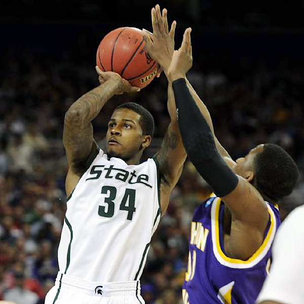 Sophomore Korie Lucious, who hit the game-winning shot last weekend to defeat Maryland, contributed 10 points -- including a whirling, turnaround jumper with 1:35 to play -- six rebounds and four assists to help send the Spartans to the regional final Sunday against Tennessee.