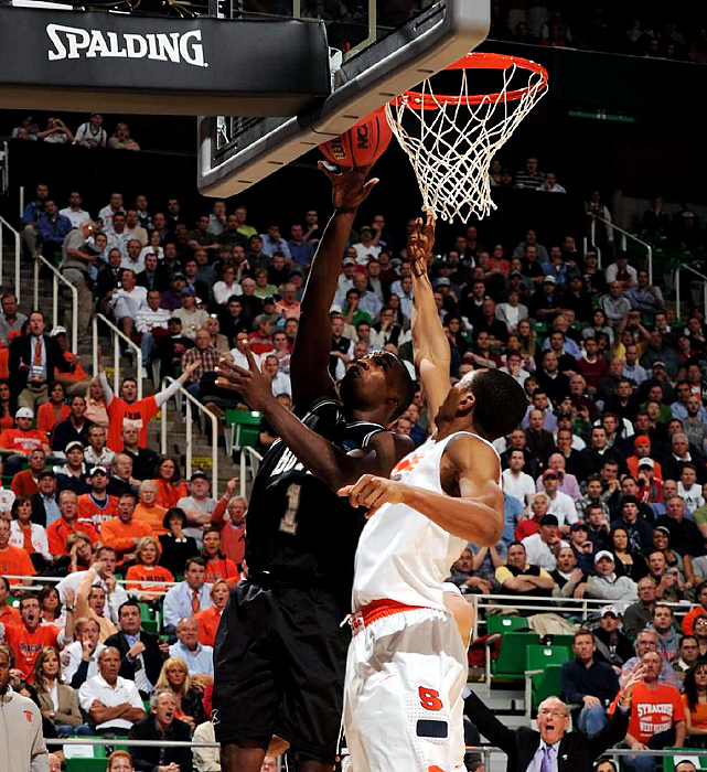 Butler's Shelvin Mack (No. 1) finished with 14 points and six rebounds, much to the chagrin of Syracuse coach Jim Boeheim.