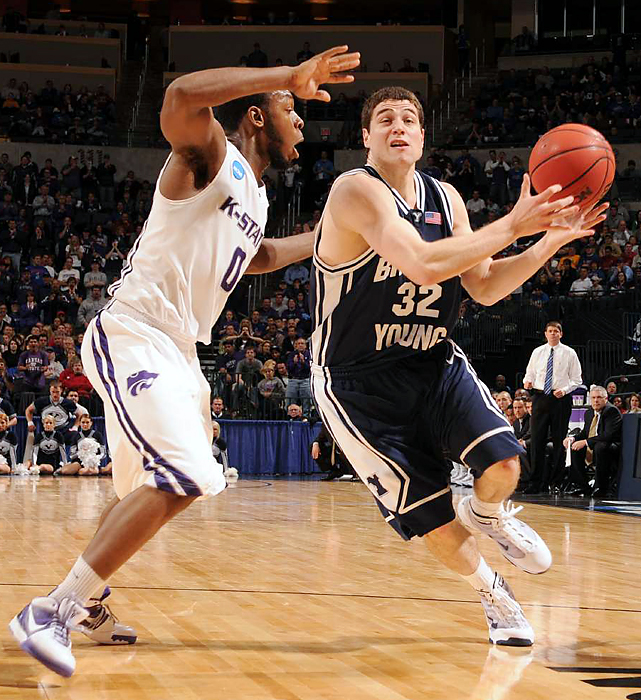 Jimmer Fredette (No. 32) helped Brigham Young (30-6) score the game's first ten points. The junior finished with 21 points.