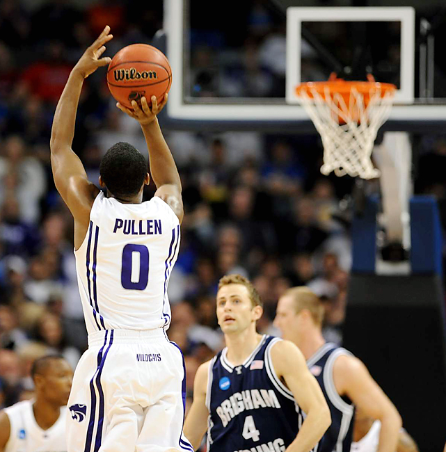 It didn't matter if the basket seemed blurry -- Jacob Pullen was sharp. The junior made 7-of-12 3-pointers and all 11 free throws to finish with a career-high 34 points as K-State qualified for the Sweet 16 for the first time since 1988.