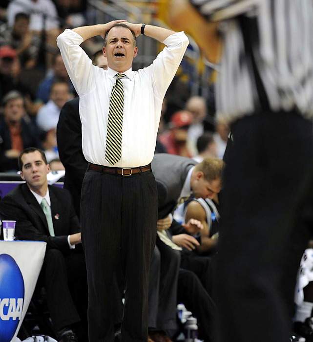 Coach Mike Young begs to differ as a late call goes against his Terriers in their 53-49 defeat to Wisconsin.