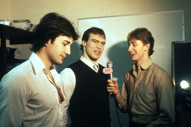 Gretzky and the Oilers quickly became a force. Here, he playfully interviews two of his most notable teammates -- future Hall of Famers Paul Coffey and Mark Messier.