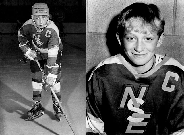 """At age 11, Gretzky was running wild in his Pee Wee league in Brantford. Nicknamed for his white gloves and speed, he scored 378 goals ... in one season. In one game, he potted three in 45 seconds. """"He would never come off the ice,"""" recalls SI.com's Darren Eliot, who played against Gretzky in the same league. """"He moved to defense instead of actually taking a break on the bench."""""""