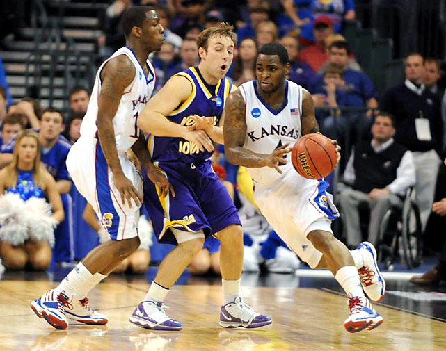 In his final game as a Jayhawk, point guard Sherron Collins scored 10 points on 4-of-15 shooting, including 0-for-6 from 3-point range.