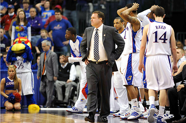 Bill Self's Jayhawks played from behind for most of the game -- they trailed for all but 56 seconds of the first half and by as many as eight in the final 20 minutes.