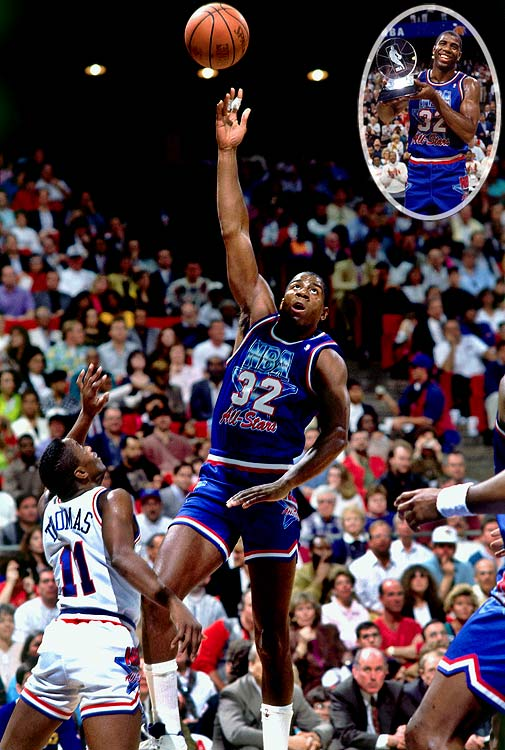 Three months after retiring from the NBA after testing positive for the HIV virus, Magic Johnson made a highly anticipated comeback in the 1992 All-Star Game. With questions swirling about the safety of his participation -- including some players saying they would be at risk of contamination if Johnson suffered an open wound while on the court -- Magic treated viewers with a show as always, scoring 25 points, dishing nine assists and winning MVP honors after nailing the game-capping three-pointer in the West's 153-113 victory.