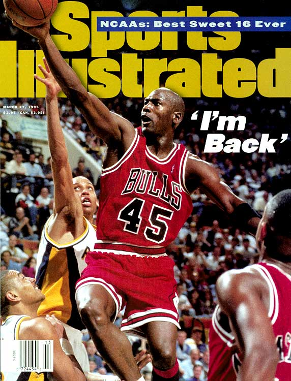 """I'm back,"" Jordan famously announced in a two-word press release in March 1995, signaling the first of his two returns to the NBA and the end of his minor league baseball career. Jordan struggled in his first game in 21 months -- wearing No. 45, he shot only 7-for-28 from the field and scored 19 points in the Bulls' OT loss at Indiana -- but by his fifth game he was dropping 55 points on the Knicks at Madison Square Garden."