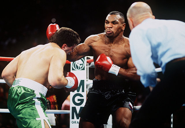 After Mike Tyson served three years in prison for a rape conviction, his return to the ring against Peter McNeeley was the one of the most viewed fights ever. It grossed more than $96 million worldwide, including a U.S. record $63 million for pay-per-view. Tyson defeated McNeeley in 86 seconds.