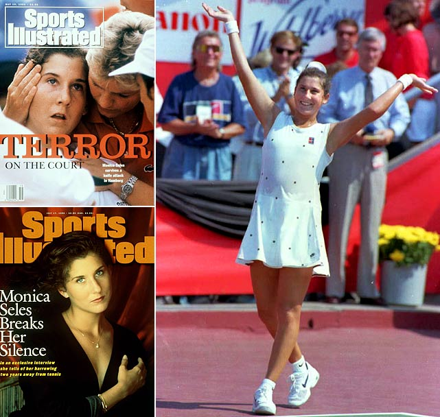 "Stabbed in the back during a break between games in Hamburg, Monica Seles spent more than two years away from the game. ""I went from being the world's No. 1 player worrying about my next match, to worrying, Am I going to be able to walk?'' she once said. When Seles did return, she won her comeback tournament, the 1995 Canadian Open, defeating Amanda Coetzer in the finals."