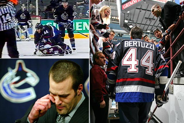 A power forward with a notorious enforcer streak, Bertuzzi was suspended indefinitely after critically injuring Steve Moore of the Colorado Avalanche with a sucker punch in a 2004 game. Charged with assault (he pleaded guilty after offering a tearful public apology), Bertuzzi returned to action with Canucks on Oct. 5, 2005 after 17 months, cheered in Vancouver but a villain who was booed wherever the team went. He was also sued by Moore, who never played in the NHL again.