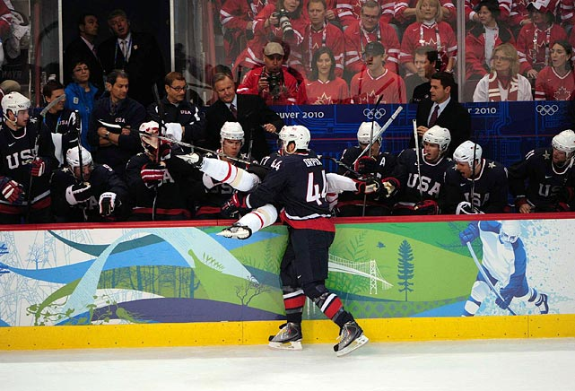 Team USA carried the play early, banging bodies, most especially a hit in which defensman Brooks Orpik checked Dany Heatley into the U.S. bench.