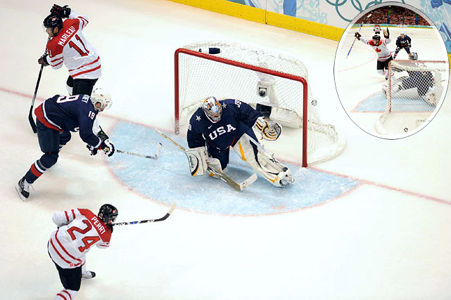 But the Canadians took advantage of another defensive miscue, when at 7:13 of the second period U.S. defenseman Ryan Whitney deflected a centering pass from Ryan Getzlaf directly into the slot, where an uncovered Corey Perry pounced on it and snapped it past Miller, giving Canada a 2-0 lead.