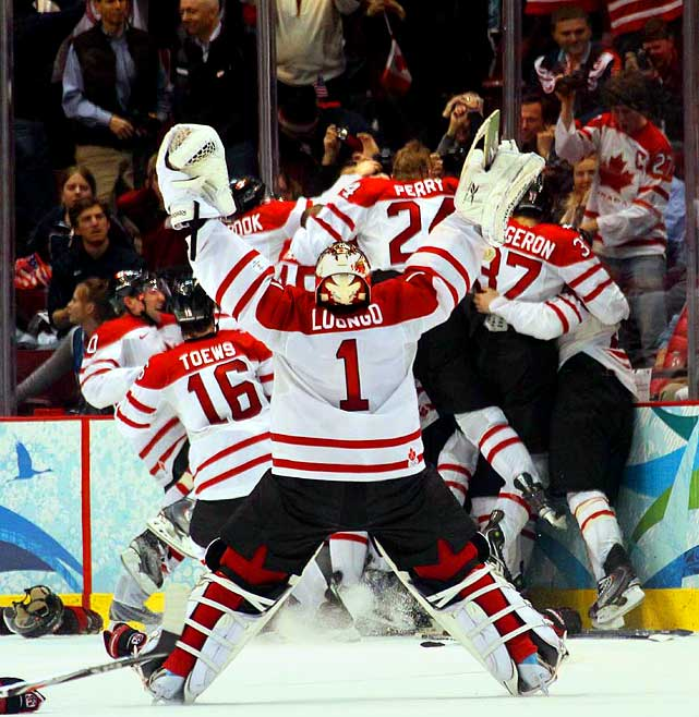 Canada beat the United States 3-2 on Sunday to win the Olympic goal medal in its national sport of hockey, with Sidney Crosby scoring the winning goal 7:40 into overtime.  Goalie Roberto Luongo won all five games he played in the tournament, including all four after replacing Martin Brodeur following the loss to the U.S. the previous Sunday.