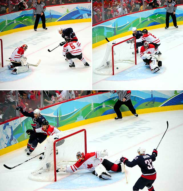 But six minutes after Perry's goal the U.S. got one back when Patrick Kane snapped a shot from a low angle that was tipped past Roberto Luongo by Ryan Kesler (17) at 12:37.