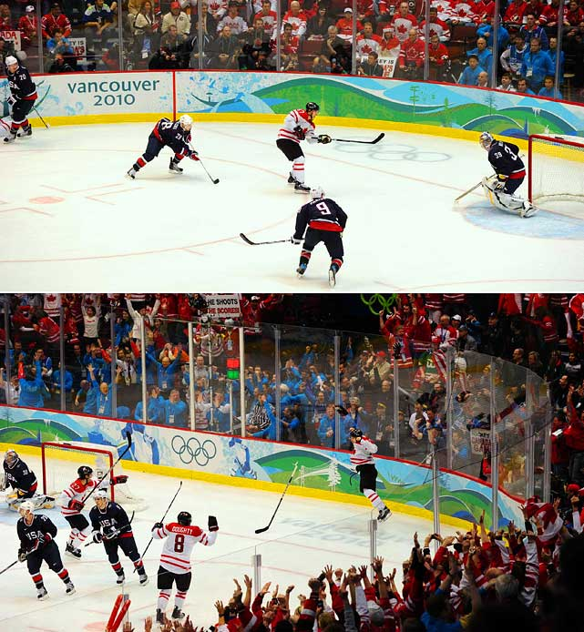 Although the Canadians sat back late in the third period, they came out shooting in overtime.  Sidney Crosby's shot from the lower part of the left circle eluded goalie Ryan Miller, and Canada Hockey Place erupted in deafening cheers.