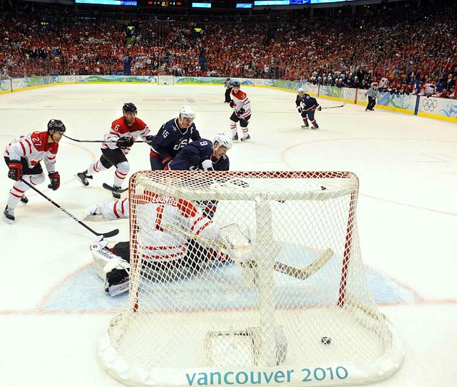 The U.S. pulled goalie Ryan Miller with 90 seconds to go, and after they won their second straight faceoff in the offensive zone, Zach Parise, the Americans' best forward in the game, pounced on a rebound and slid it past Roberto Luongo to tie the game, 2-2, with 24.4 seconds left.