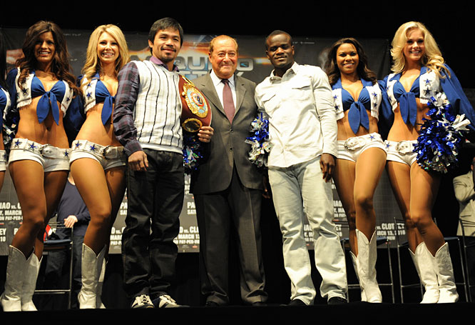 """Manny Pacquiao is the lone star of boxing,"" Top Rank founder and CEO Bob Arum (center) said. ""There isn't a more appropriate place in the world for him to fight."""