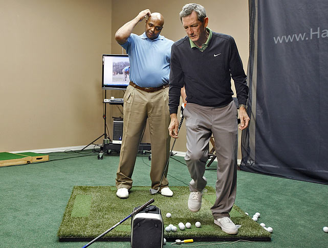 "Barkley listens to Hank Haney during ""The Haney Project,"" the reality show in which Haney worked with Barkley to try to fix the hitch in his swing. Haney, who coached Tiger Woods for years, was unable to fix Barkley's swing."