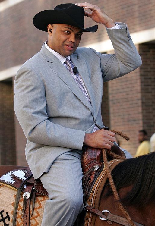 Barkley rides onto the set in Thunder Alley on a horse before Game 5 of the 2012 Western Conference Finals between the San Antonio Spurs and the Oklahoma City Thunder.