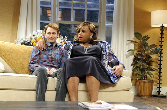 Barkley acts in a sketch on Saturday Night Live with Paul Brittain in January 2012. Barkley hosted the show after appearing on NBC's coverage of the NFL Wild Card playoffs that same day.