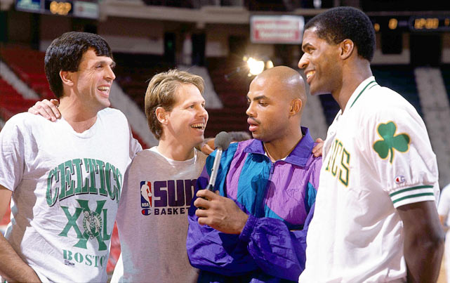 "Barkley ""interviews"" his teammate Danny Ainge and Ainge's former Celtic teammates Kevin McHale and Robert Parish at the Boston Garden."