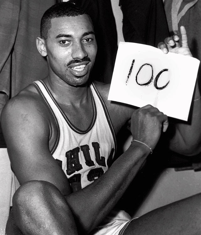 The Philadelphia Warriors defeat the New York Knicks, 169-147, thanks to an otherworldly performance from Wilt Chamberlain, who scores an incredible 100 points.