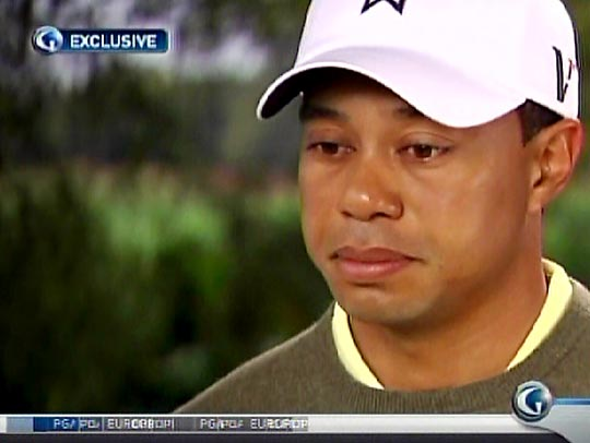 <b><i>Tom Rinaldi: You said you were in treatment. The simple question is, for what?<br>Tiger Woods: That's a private matter as well. But I can tell you what, it was tough, it was really tough to look at yourself in a light that you never want to look at yourself, that's pretty brutal.</b></i>