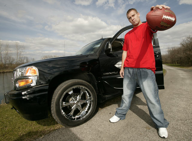 Roethlisberger shows off his ride during a SI photo shoot.
