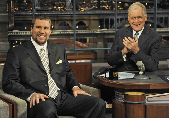 "Roethlisberger appeared on ""The Late Show with David Letterman"" twice, once after winning Super Bowl XL and again after winning Super Bow XLIIl three years later."