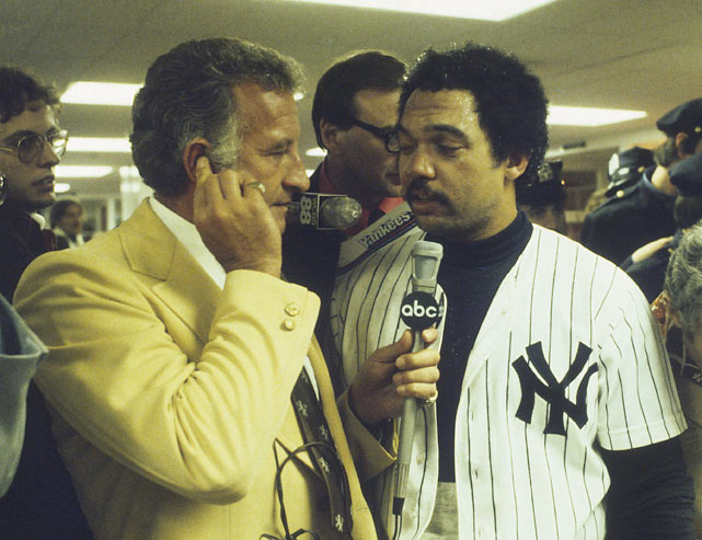 After his career ended, Uecker turned to broadcasting and landed a gig at ABC as a color commentator for  Monday Night Baseball.  Here Uecker interviews Reggie Jackson after the Yankees won the 1977 World Series.