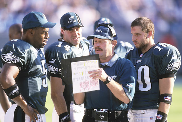 After being drafted second overall by the Eagles, McNabb started six games as a rookie for offensive coordinator Brad Childress. He struggled in his first season, completing less than 50 percent of his passes while throwing eight touchdowns and seven interceptions.