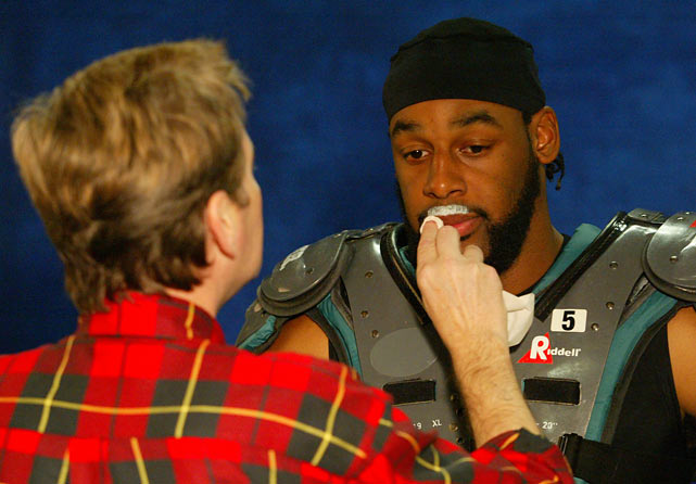 "McNabb gets a mustache painted on during the shooting of a ""Got Milk"" ad."