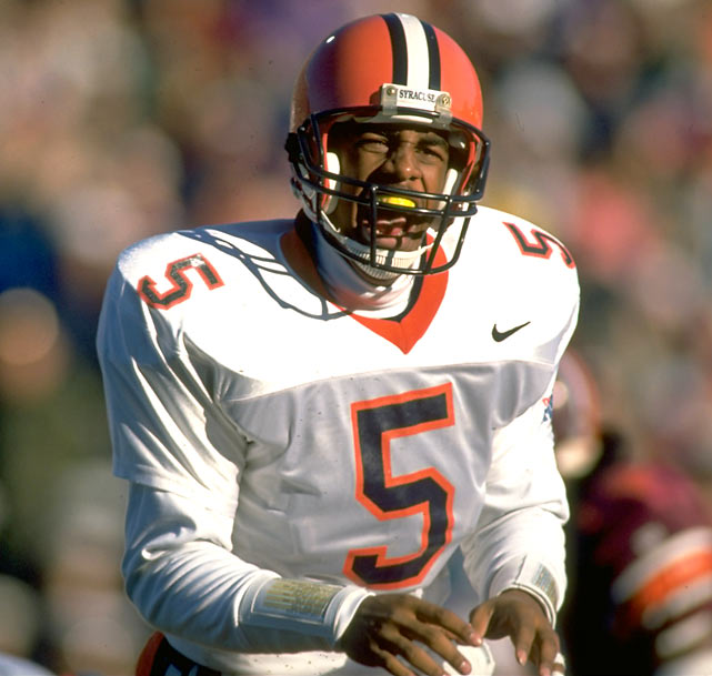 Syracuse went 35-14 with McNabb at quarterback. In four years with the Orange, he set the school record for career TD passes (77) and ended up second in career passing yards.