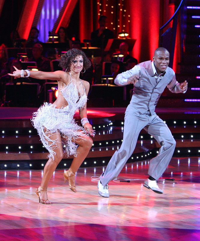 Shortly after the De La Hoya fight, Mayweather joined the cast for the fifth season of ABC's hit show Dancing With The Stars . He and partner Karina Smirnoff were the fourth couple voted off the show, but the appearance helped Mayweather achieve crossover stardom.