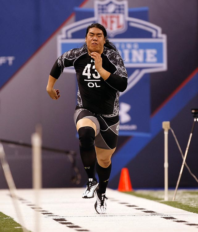 Virginia Tech's Ed Wang runs the 40-yard dash at the NFL Combine in February. Wang's best time was 5.14 seconds.