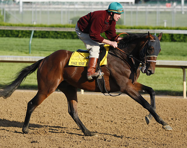 A beneficiary of the race-week injury to Endorsement and defection of Interactif, Make Music for Me slipped into the 20th and final spot in the field, beating out the more accomplished Setsuko on the basis of great grades stakes earnings. Trainer Alexis Barba will be trying to become the first woman to saddle a Derby winner, but she'll be trying with a horse that's won just one of eight lifetime starts and never run on a dirt surface.